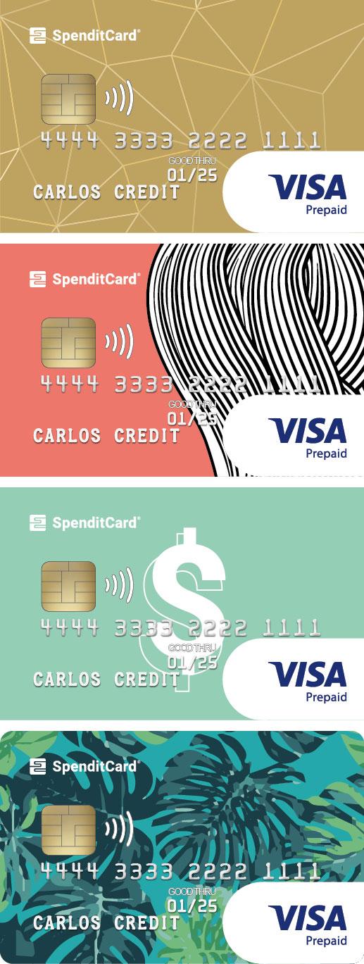 Beispielkarten von SpenditCard mit individuellem Logo